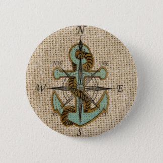 Bóton Redondo 5.08cm âncora náutica do azul do compasso de serapilheira