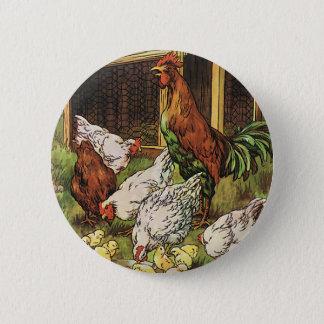 Bóton Redondo 5.08cm Animais de fazenda do vintage, galo, galinhas,