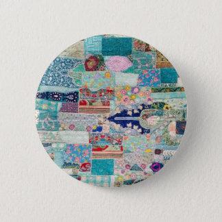 Bóton Redondo 5.08cm Aqua e design azul da tapeçaria da edredão