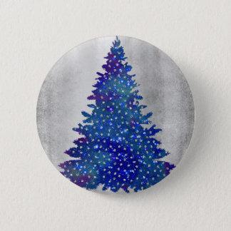 Bóton Redondo 5.08cm Árvore de Natal azul e roxa da aguarela