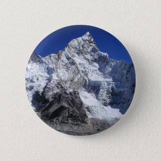 Bóton Redondo 5.08cm azul do abstrato das montanhas de Monte Everest