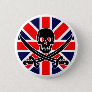 Bóton Redondo 5.08cm Bandeira de pirata BRITÂNICA