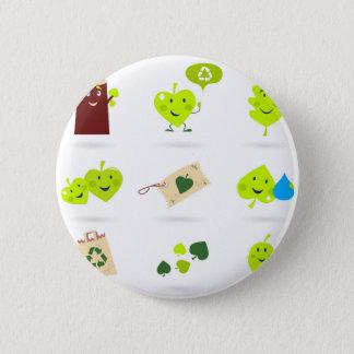 Bóton Redondo 5.08cm Bio verde bonito dos ícones dos miúdos