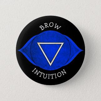 Bóton Redondo 5.08cm Botão azul de Chakra do qui da intuição da testa