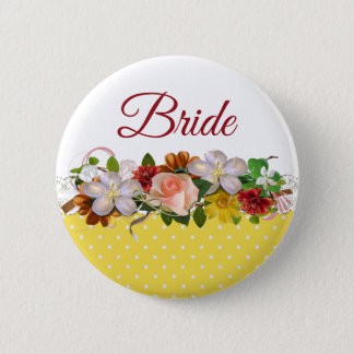 Bóton Redondo 5.08cm Botão do casamento do buquê floral da noiva