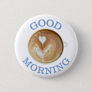 Bóton Redondo 5.08cm Botão do coração da chávena de café do bom dia