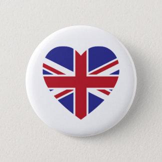 Bóton Redondo 5.08cm Botão do coração de Union Jack