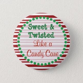 Bóton Redondo 5.08cm Botão engraçado do Natal do bastão de doces