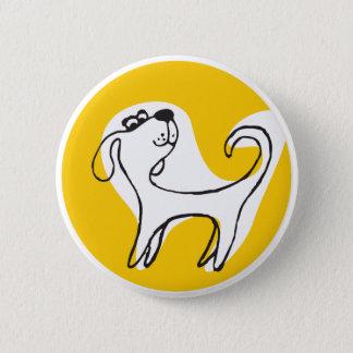 """Bóton Redondo 5.08cm botão redondo do """"cão engraçado amarelo """""""