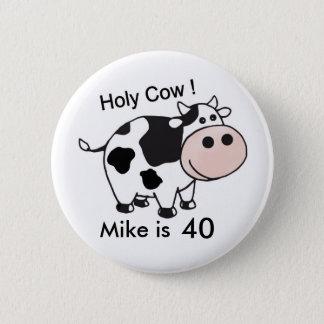Bóton Redondo 5.08cm botão santamente do aniversário da vaca
