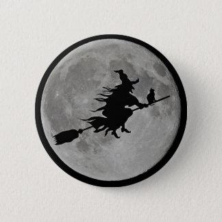 Bóton Redondo 5.08cm BRUXA da LUA CHEIA no BOTÃO da bruxa do Dia das