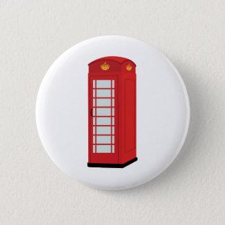 Bóton Redondo 5.08cm Caixa de telefone vermelha