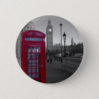 Bóton Redondo 5.08cm Caixa de telefone vermelha de Londres