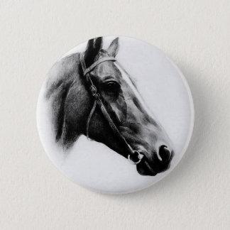 Bóton Redondo 5.08cm Cavalo preto & branco