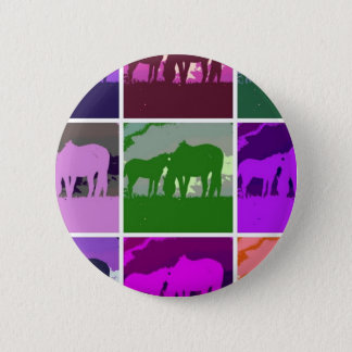 Bóton Redondo 5.08cm Cavalos multicoloridos do pop art