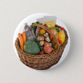 Bóton Redondo 5.08cm Cesto de compras com frutas e legumes dos