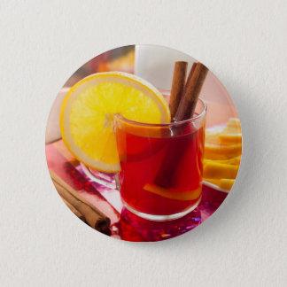 Bóton Redondo 5.08cm Chá do citrino da fruta com canela e laranja