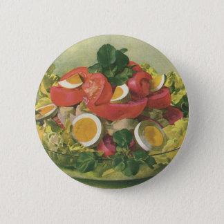 Bóton Redondo 5.08cm Comida do vintage, salada verde misturada orgânica