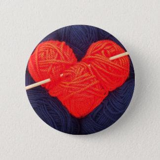 Bóton Redondo 5.08cm Coração bonito de lãs com a fotografia da agulha