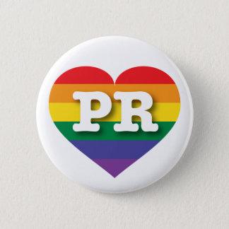Bóton Redondo 5.08cm Coração do arco-íris do orgulho gay de Puerto Rico