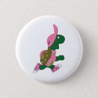 Bóton Redondo 5.08cm Corredor bonito da tartaruga no rosa
