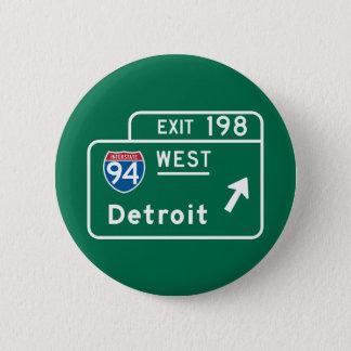 Bóton Redondo 5.08cm Detroit, sinal de estrada do MI