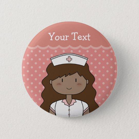 Bóton Redondo 5.08cm Enfermeira dos desenhos animados com cabelo