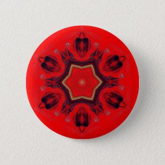 Bóton Redondo 5.08cm Espiritual vermelho da mediação da arte da mandala