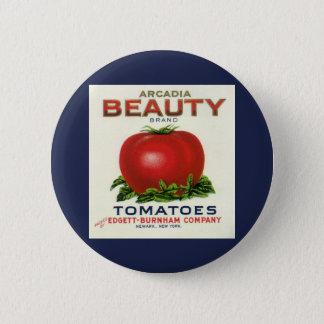 Bóton Redondo 5.08cm Etiqueta da caixa da fruta do vintage, tomates da