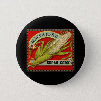 Bóton Redondo 5.08cm Etiqueta vegetal do vintage, Olney & milho de