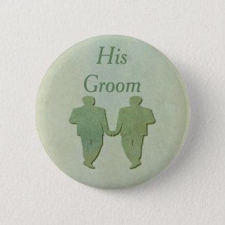 Bóton Redondo 5.08cm Gay verde seu crachá do noivo - hortelã rústica