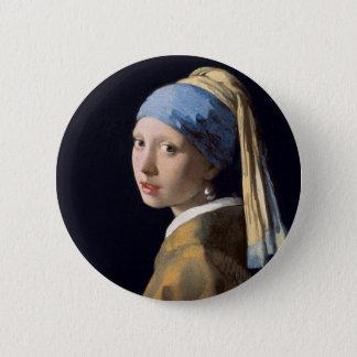 Bóton Redondo 5.08cm Johannes Vermeer - menina com um brinco da pérola