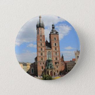 Bóton Redondo 5.08cm Krakow, igreja de Mariacki, a igreja de St Mary,