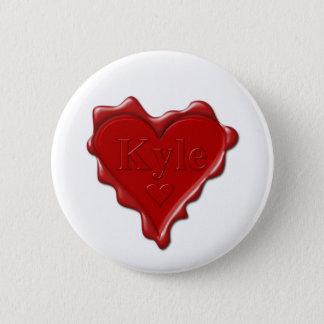 Bóton Redondo 5.08cm Kyle. Selo vermelho da cera do coração com Kyle