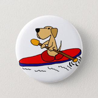 Bóton Redondo 5.08cm Labrador retriever amarelo engraçado que Kayaking