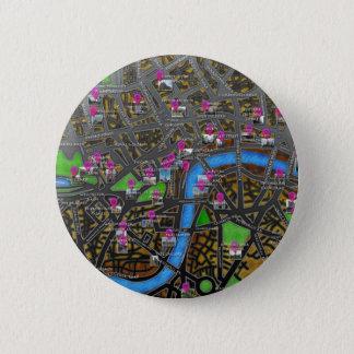 Bóton Redondo 5.08cm Mapa de estradas de Londres