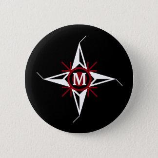Bóton Redondo 5.08cm Monograma na moda vermelho & do branco da estrela