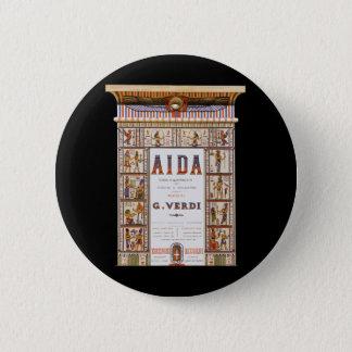 Bóton Redondo 5.08cm Música da ópera do vintage, egípcio Aida por Verdi