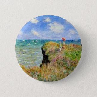 Bóton Redondo 5.08cm O penhasco de Pourville de Claude Monet