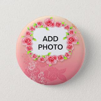 Bóton Redondo 5.08cm Os namorados cor-de-rosa dos rosas adicionam sua