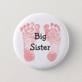 """Bóton Redondo 5.08cm Pegadas cor-de-rosa da """"irmã mais velha"""" brancas e"""