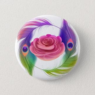 Bóton Redondo 5.08cm Rico cor-de-rosa & botão das penas