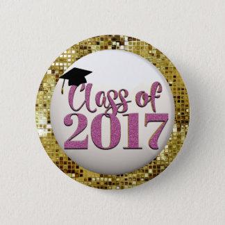 Bóton Redondo 5.08cm Sequins do ouro, classe cor-de-rosa do botão 2017