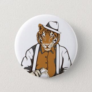 Bóton Redondo 5.08cm tigre humano com cartões de jogo