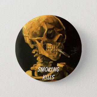 Bóton Redondo 5.08cm vangogh_skull_cigarette, Smokingkills
