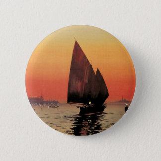 Bóton Redondo 5.08cm Viagens vintage, barcos no palácio Veneza das