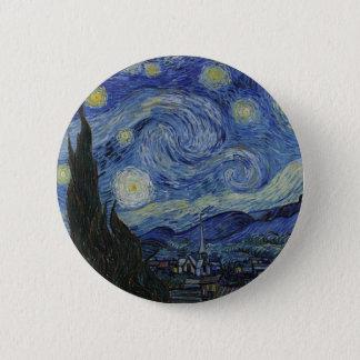 Bóton Redondo 5.08cm Vincent van Gogh - noite estrelado. Pintura da