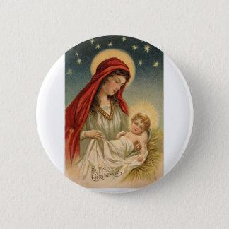 Bóton Redondo 5.08cm Vintage lindo Mary com Jesus