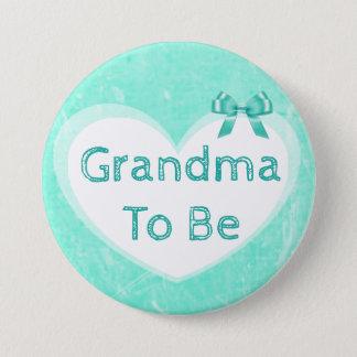 Bóton Redondo 7.62cm Avó a ser azul do botão do chá de fraldas