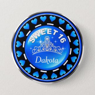 Bóton Redondo 7.62cm Azul da princesa Tiara Amor Coração | do doce 16